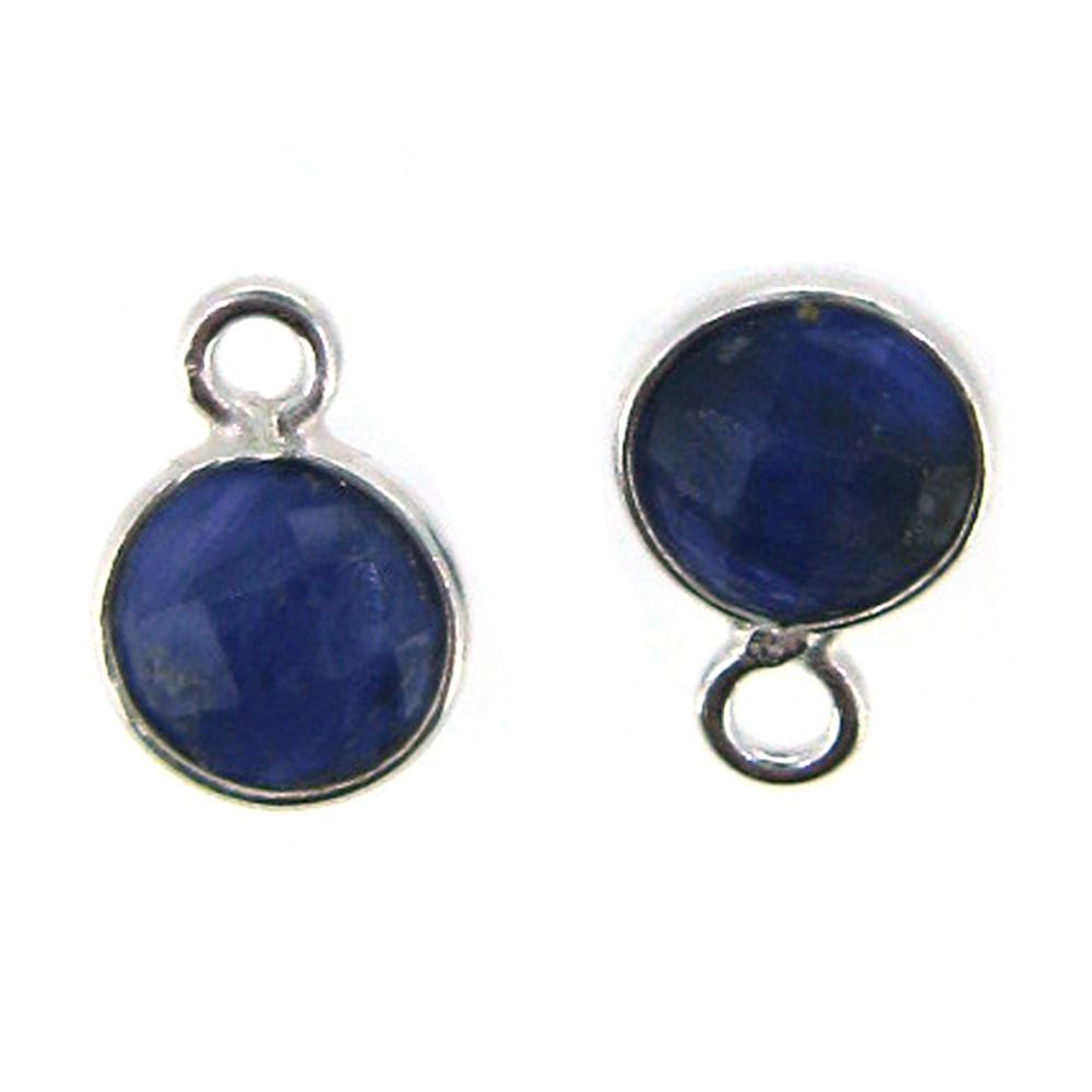 Bezel Gem Pendant-Sterling Silver-7mm Tiny Circle Shape- Blue Sapphire Dyed (sold per 2 pieces)