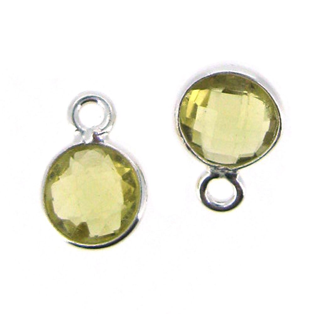 Bezel Gem Pendant-Sterling Silver-7mm Tiny Circle Shape- Citrine (sold per 2 pieces)