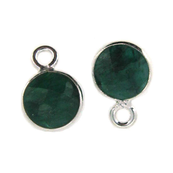 Bezel Gem Pendant-Sterling Silver-7mm Tiny Circle Shape- Emerald Dyed (sold per 2 pieces)