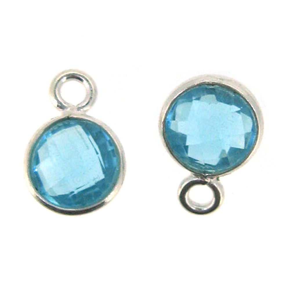 Bezel Gem Pendant-Sterling Silver-7mm Tiny Circle Shape- Blue Topaz (sold per 2 pieces)