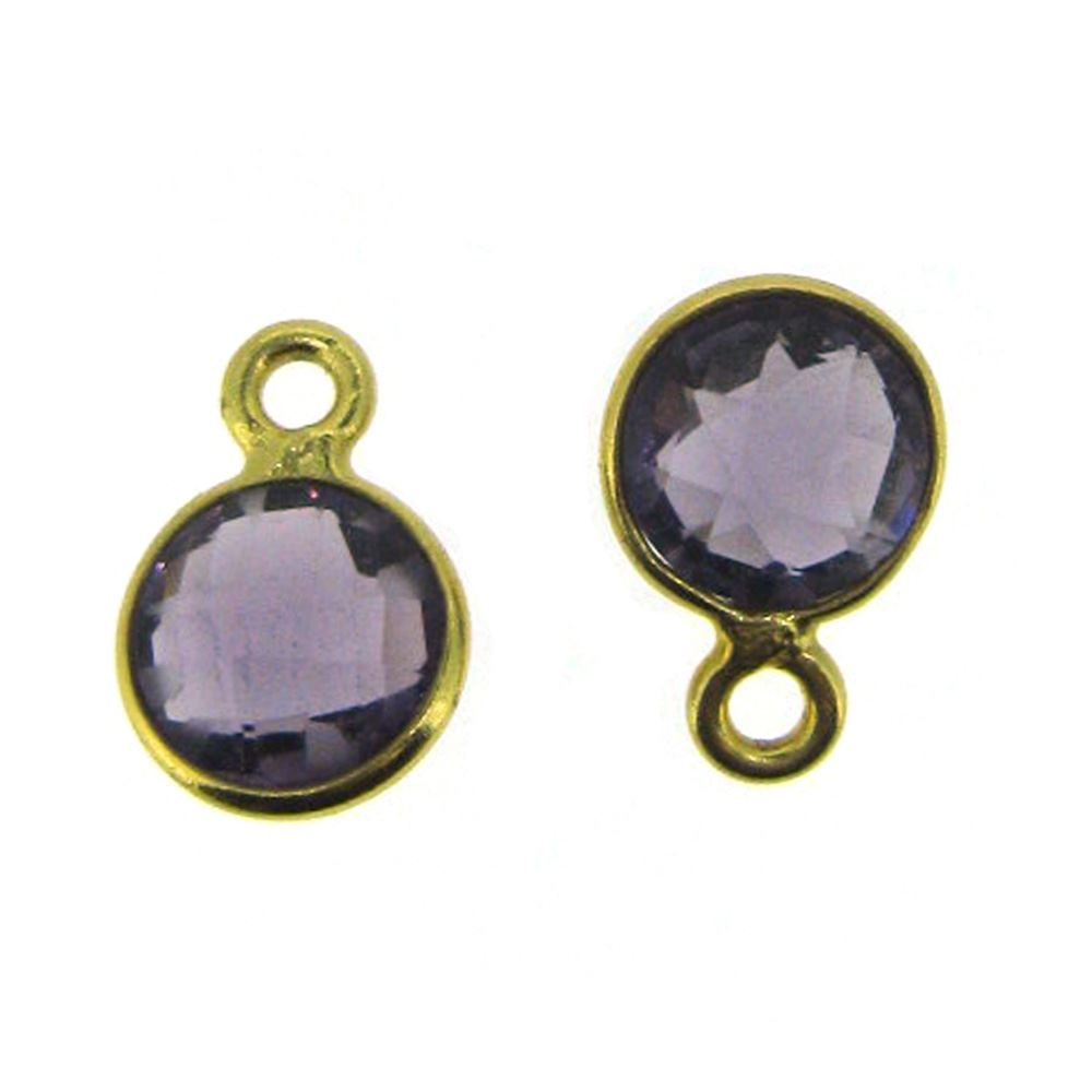 Bezel Gem Pendant-Gold Plated Sterling Silver-7mm Tiny Circle Shape- Amethyst Quartz (sold per 2 pieces)