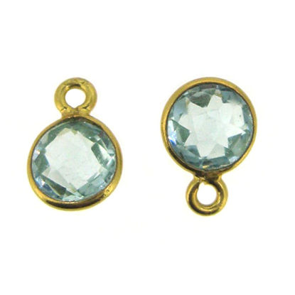 Bezel Gem Pendant-Gold Plated Sterling Silver-7mm Tiny Circle Shape- Aqua Quartz (sold per 2 pieces)