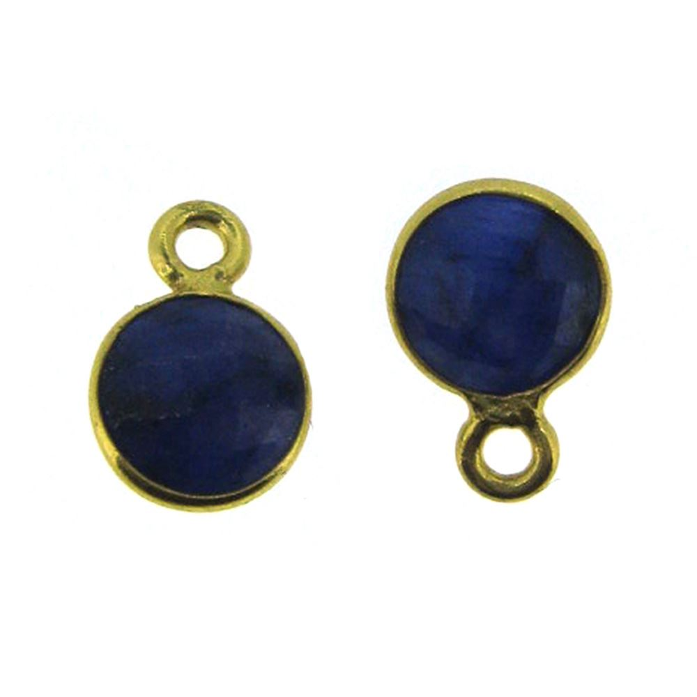 Bezel Gem Pendant-Gold Plated Sterling Silver-7mm Tiny Circle Shape- Blue Sapphire Dyed (sold per 2 pieces)