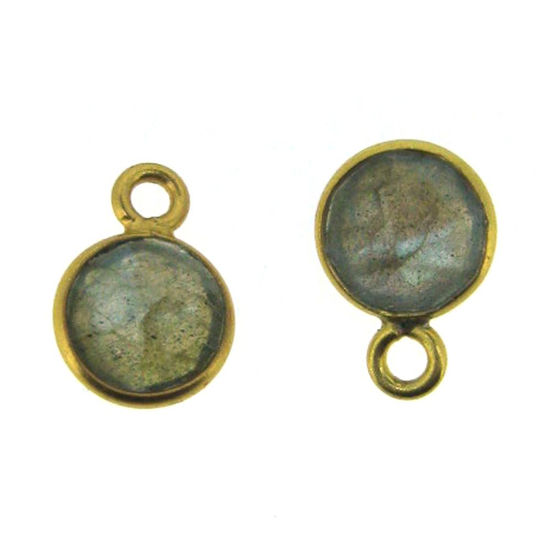 Bezel Gem Pendant-Gold Plated Sterling Silver-7mm Tiny Circle Shape- Labradorite (sold per 2 pieces)