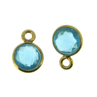 Bezel Gem Pendant-Gold Plated Sterling Silver-7mm Tiny Circle Shape- Blue Topaz (sold per 2 pieces)