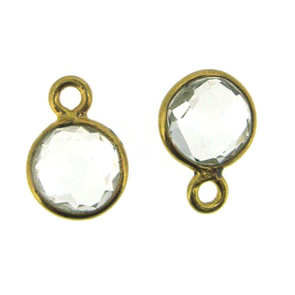 Bezel Gem Pendant-Gold Plated Sterling Silver-7mm Tiny Circle Shape- Crystal Quartz (sold per 2 pieces)