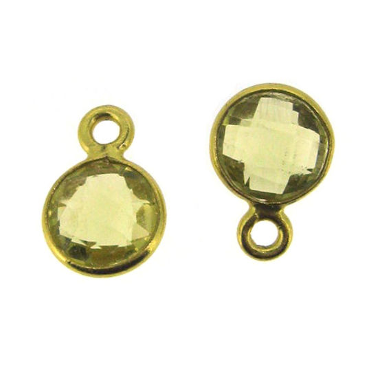Bezel Gem Pendant-Gold Plated Sterling Silver-7mm Tiny Circle Shape- Citrine (sold per 2 pieces)