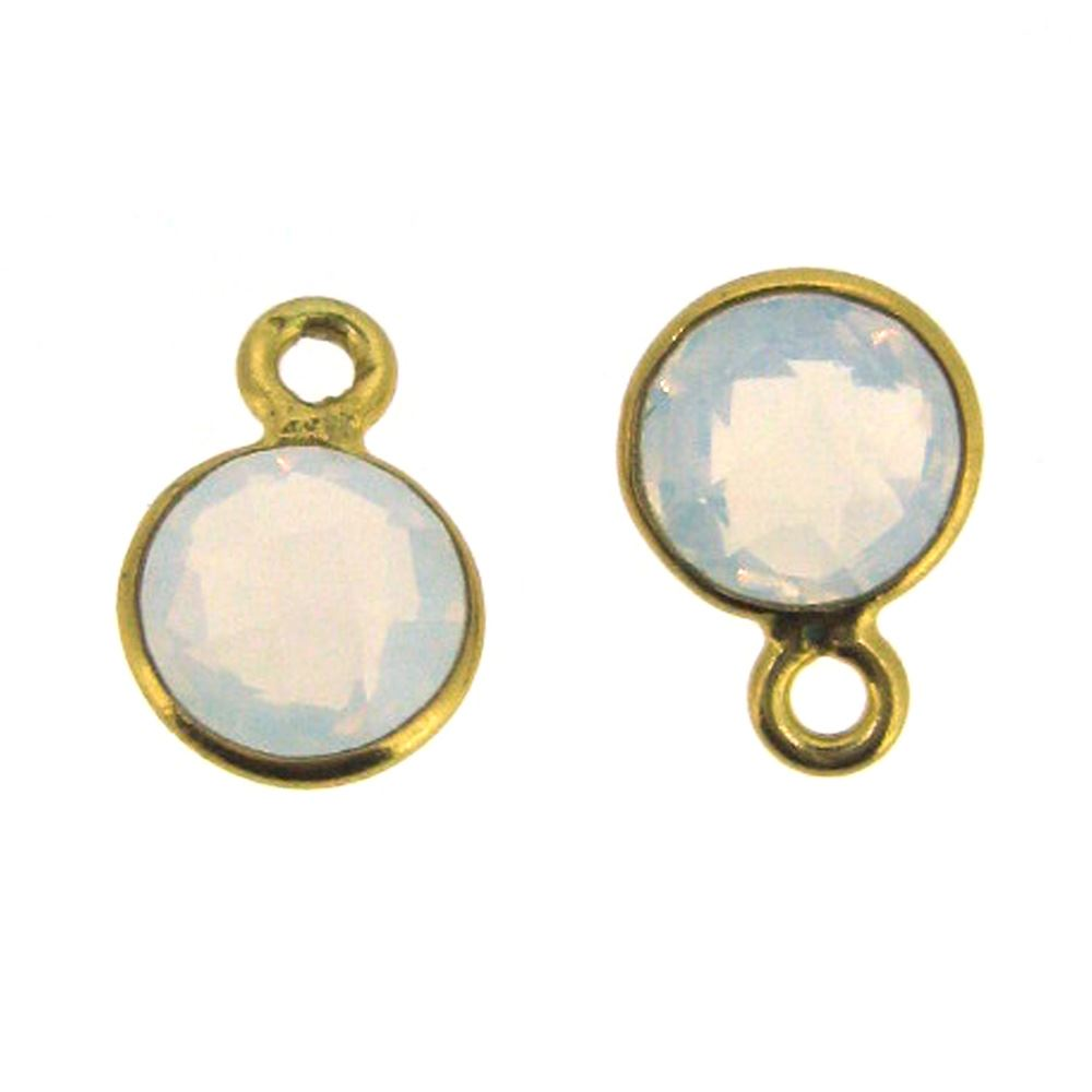 Bezel Gem Pendant-Gold Plated Sterling Silver-7mm Tiny Circle Shape- Opalite (sold per 2 pieces)