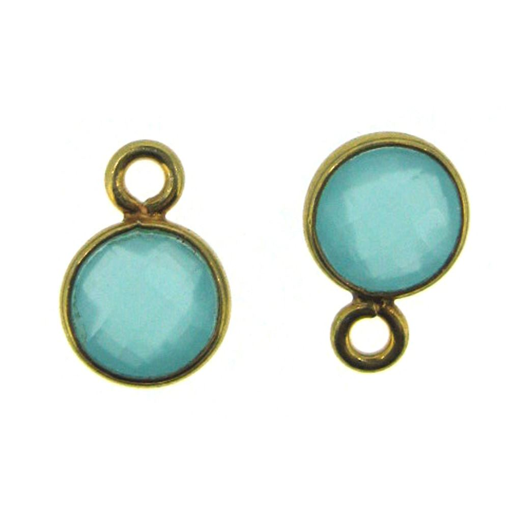 Bezel Gem Pendant-Gold Plated Sterling Silver-7mm Tiny Circle Shape- Peru Chalcedony (sold per 2 pieces)