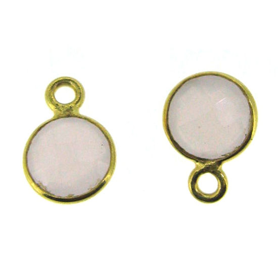 Bezel Gem Pendant-Gold Plated Sterling Silver-7mm Tiny Circle Shape- Pink Chalcedony (sold per 2 pieces)