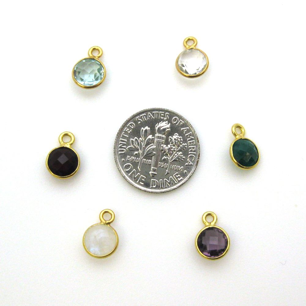 Bezel Gem Pendant-Gold Plated Sterling Silver-7mm Tiny Circle Shape- Peridot (sold per 2 pieces)