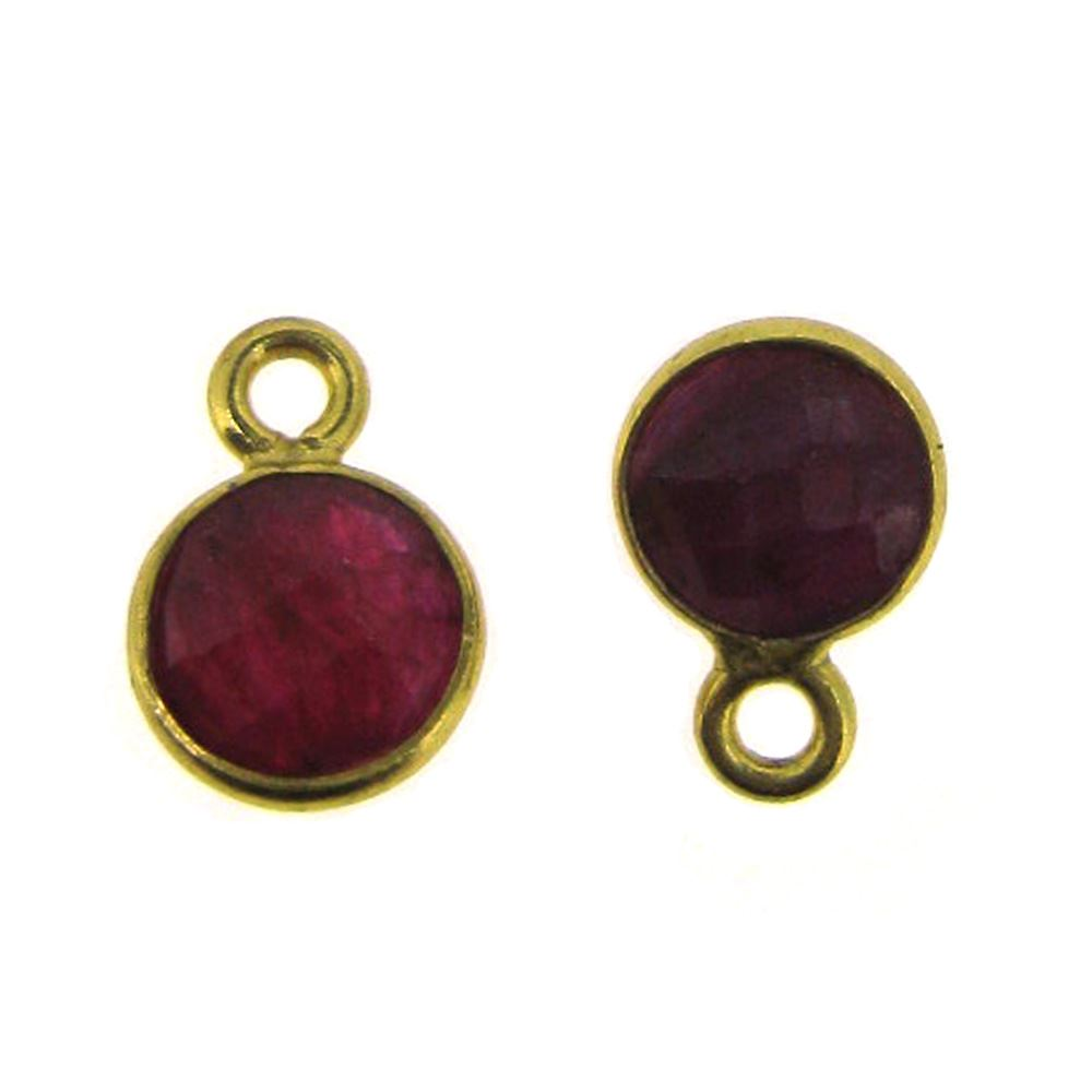 Bezel Gem Pendant-Gold Plated Sterling Silver-7mm Tiny Circle Shape- Ruby Dyed (sold per 2 pieces)