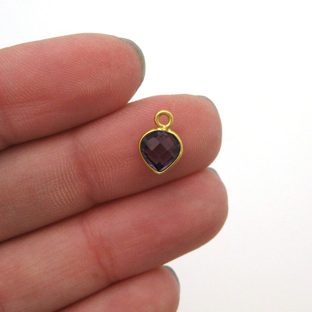 Bezel Gem Pendant-Gold Plated Sterling Silver- 10x7mm Tiny Heart Shape- Amethyst Quartz (sold per 2 pieces)