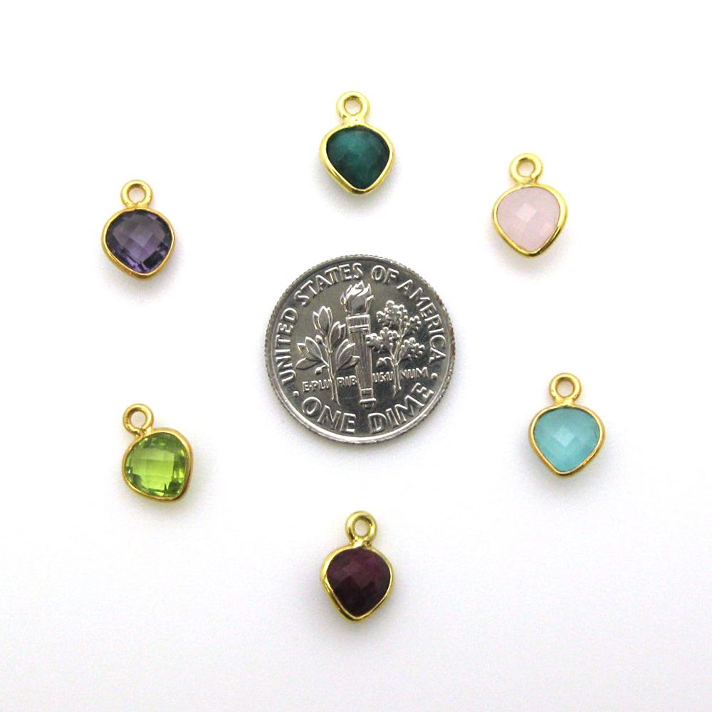 Bezel Gem Pendant-Gold Plated Sterling Silver- 10x7mm Tiny Heart Shape- Emerald Dyed (sold per 2 pieces)