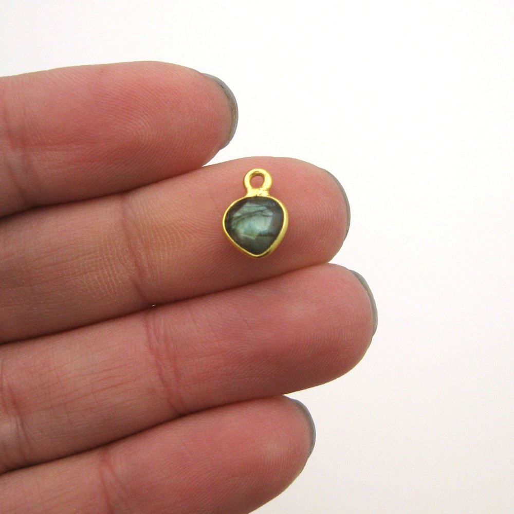 Bezel Gem Pendant-Gold Plated Sterling Silver- 10x7mm Tiny Heart Shape- Labradorite (sold per 2 pieces)