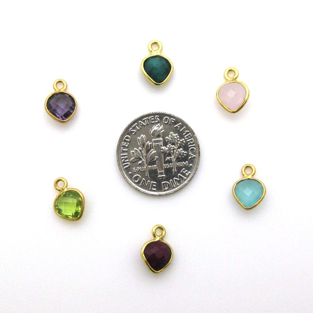 Bezel Gem Pendant-Gold Plated Sterling Silver- 10x7mm Tiny Heart Shape- Labradorite (sold per 2 pieces)
