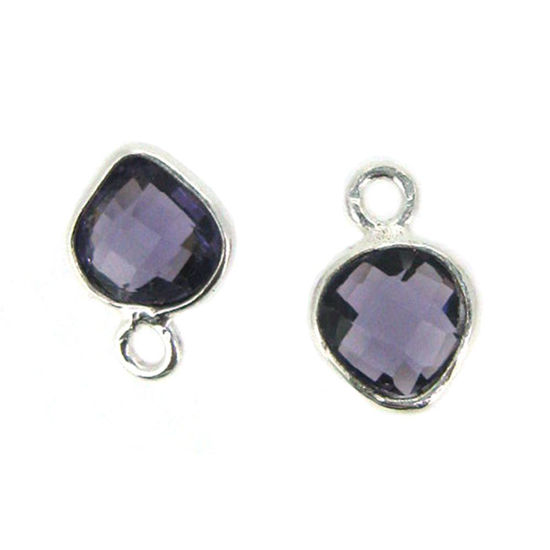 Bezel Gem Pendant- Sterling Silver- 10x7mm Tiny Heart Shape- Amethyst Quartz (sold per 2 pieces)