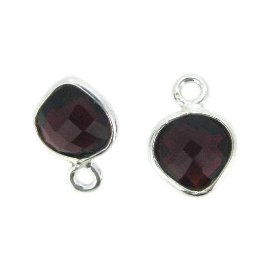 Bezel Gem Pendant- Sterling Silver- 10x7mm Tiny Heart Shape- Garnet (sold per 2 pieces)