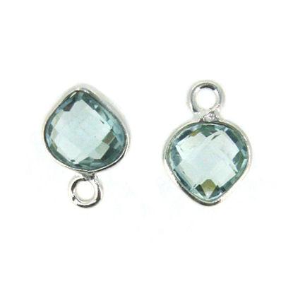 Bezel Gem Pendant- Sterling Silver- 10x7mm Tiny Heart Shape- Aqua Quartz (sold per 2 pieces)
