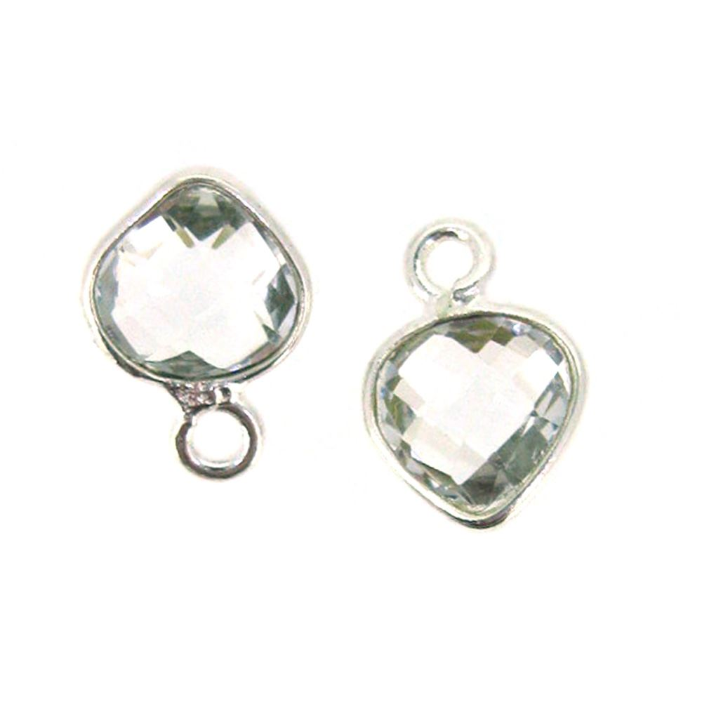 Bezel Gem Pendant- Sterling Silver- 10x7mm Tiny Heart Shape- Crystal Quartz (sold per 2 pieces)