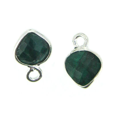 Bezel Gem Pendant- Sterling Silver- 10x7mm Tiny Heart Shape- Emerald Dyed (sold per 2 pieces)