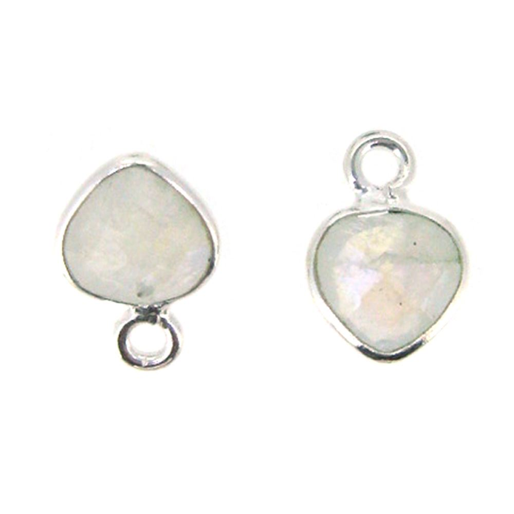 Bezel Gem Pendant- Sterling Silver- 10x7mm Tiny Heart Shape- Moonstone (sold per 2 pieces)