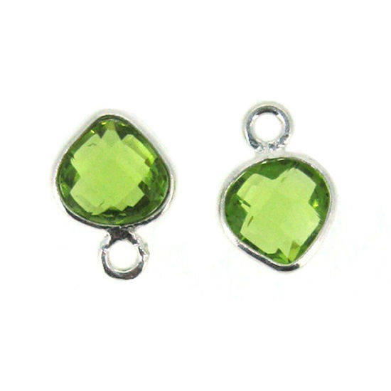 Bezel Gem Pendant- Sterling Silver- 10x7mm Tiny Heart Shape- Peridot (sold per 2 pieces)