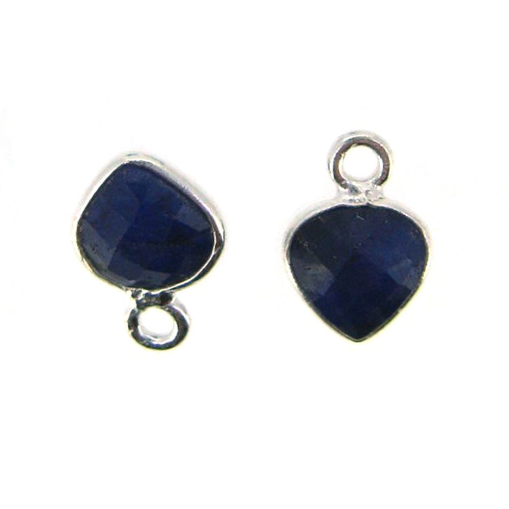 Bezel Gem Pendant- Sterling Silver- 10x7mm Tiny Heart Shape- Blue Sapphire Dyed (sold per 2 pieces)