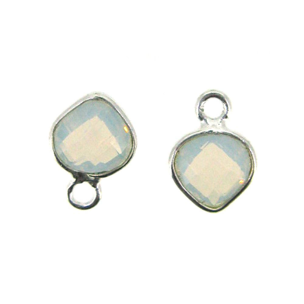 Bezel Gem Pendant- Sterling Silver- 10x7mm Tiny Heart Shape- Opalite (sold per 2 pieces)