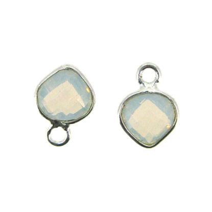 Bezel Gem Pendant- Sterling Silver- 10x7mm Tiny Heart Shape- Opalite (sold per 2 pieces)