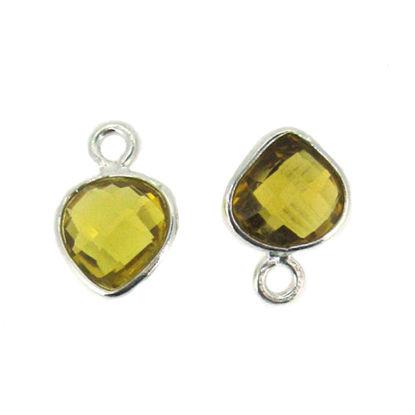 Bezel Gem Pendant- Sterling Silver- 10x7mm Tiny Heart Shape- Citrine (sold per 2 pieces)