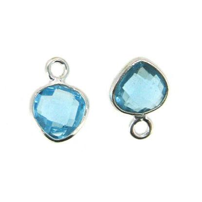 Bezel Gem Pendant- Sterling Silver- 10x7mm Tiny Heart Shape- Blue Topaz (sold per 2 pieces)
