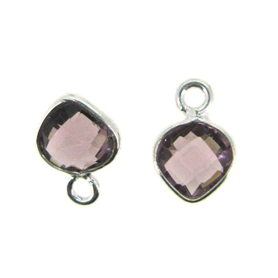 Bezel Gem Pendant- Sterling Silver- 10x7mm Tiny Heart Shape- Pink Amethyst Quartz (sold per 2 pieces)