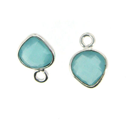 Bezel Gem Pendant- Sterling Silver- 10x7mm Tiny Heart Shape- Peru Chalcedony (sold per 2 pieces)