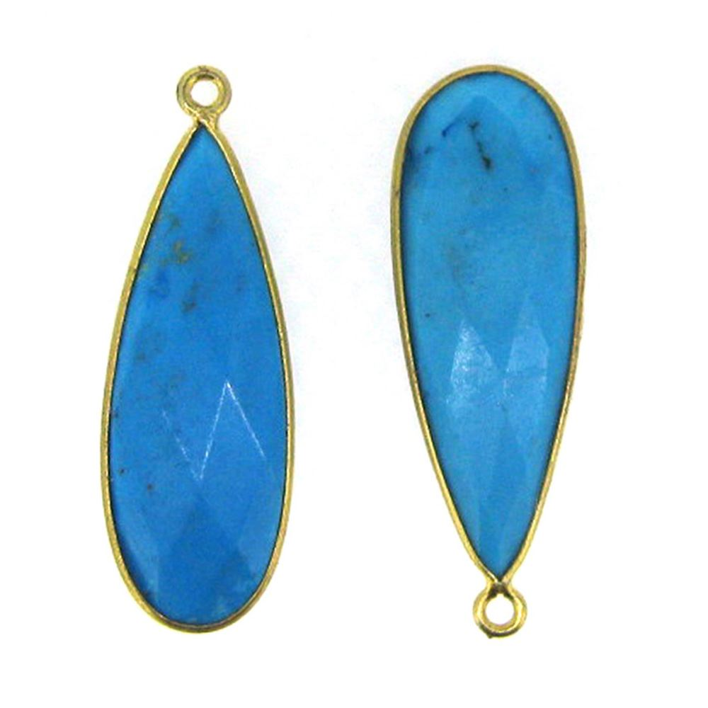 Bezel Charm Pendant -22K Gold Plated Vermeil Charm-Gold Plated - Elongated Teardrop - Bezel Gemstone - Turquoise - 34 by11mm (Sold per 2 pieces)