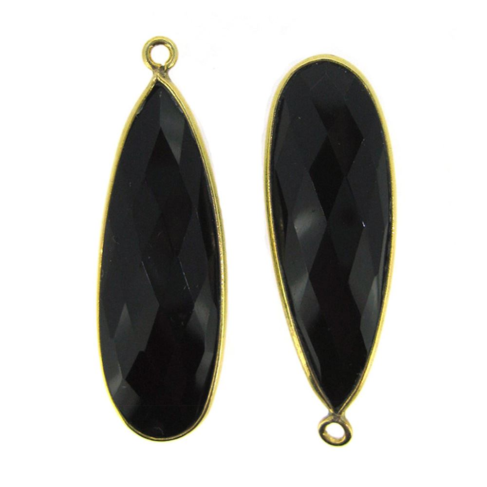 Bezel Charm Pendant -22K Gold Plated Vermeil Charm-Gold Plated - Elongated Teardrop - Bezel Gemstone - Black Onyx - 34 by11mm (Sold per 2 pieces)