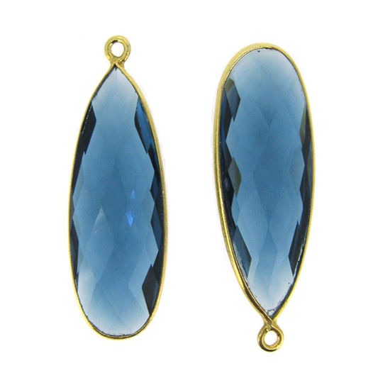 Bezel Charm Pendant -22K Gold Plated Vermeil Charm-Gold Plated - Elongated Teardrop - Bezel Gemstone - Blue Iolite Quartz - 34 by11mm (Sold per 2 pieces)