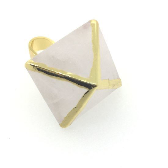 Gemstone Pendant, Octahedron Crystal Quartz Gemstone, 8 sides gemstone Gold plated Pendant,Small Gemstone Rock Pendant- 25m