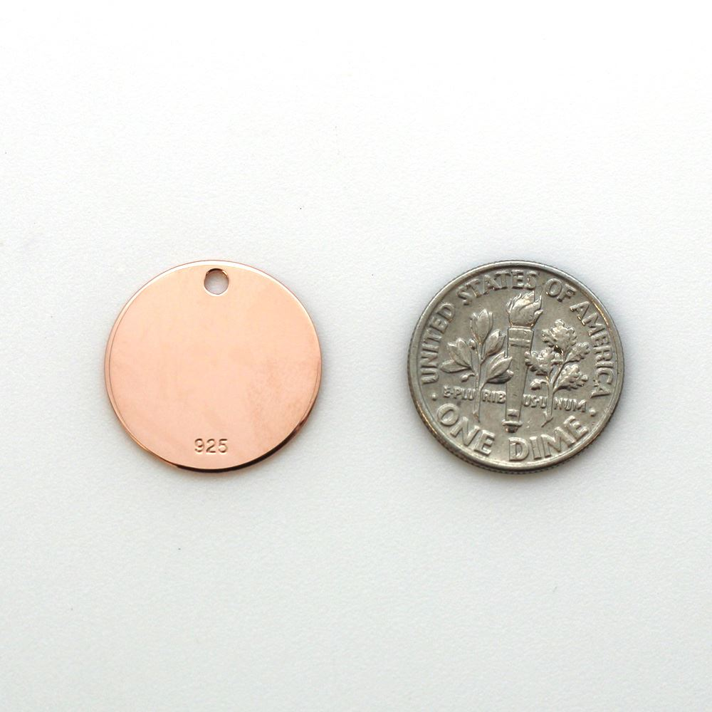 Rose Gold Plated Sterling Silver Round Stamping Blank 18mm