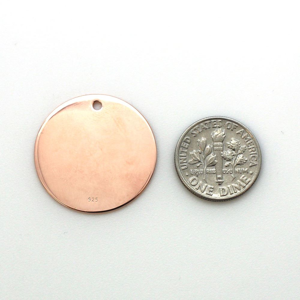 Rose Gold Plated Sterling Silver Round Stamping Blank 25mm