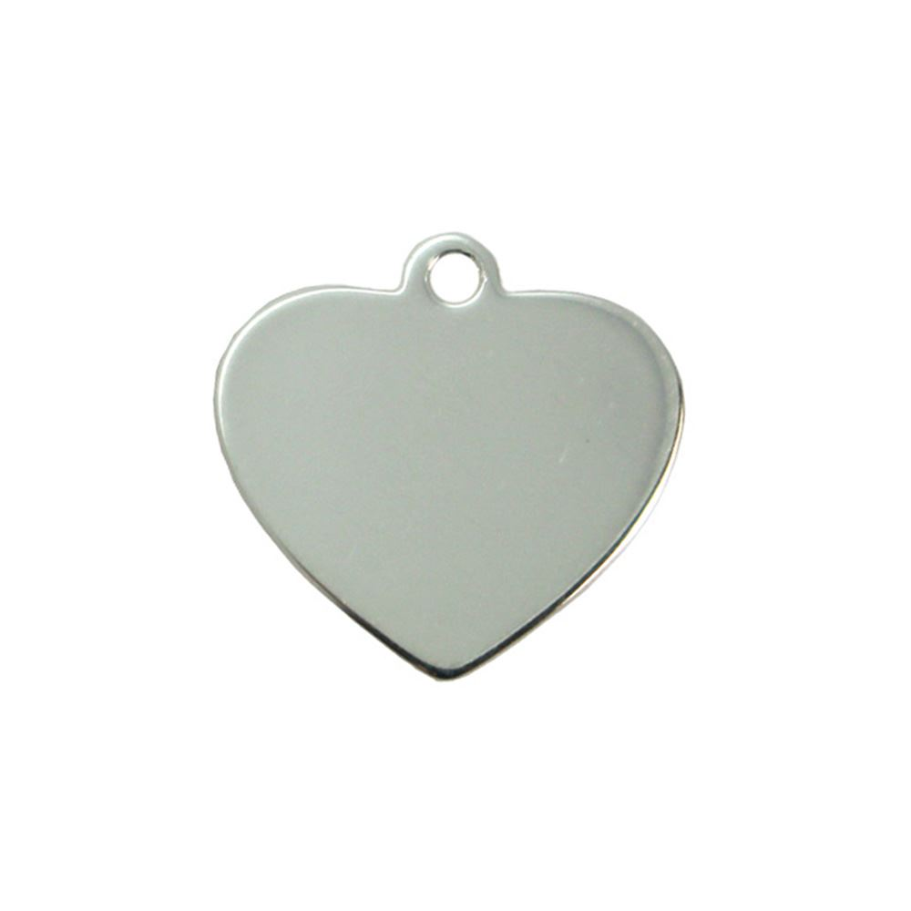 Sterling Silver 12X12mm Heart Charm Tag