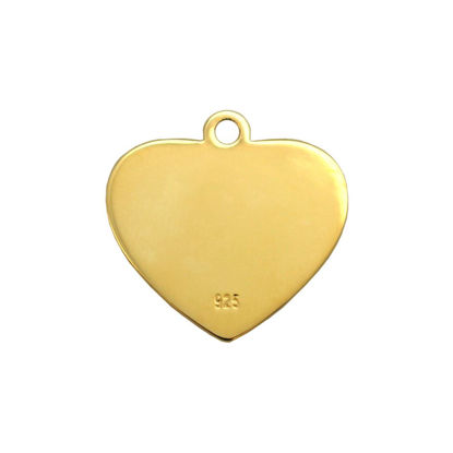 Gold Plated Sterling Silver 12X12mm Heart Charm Tag