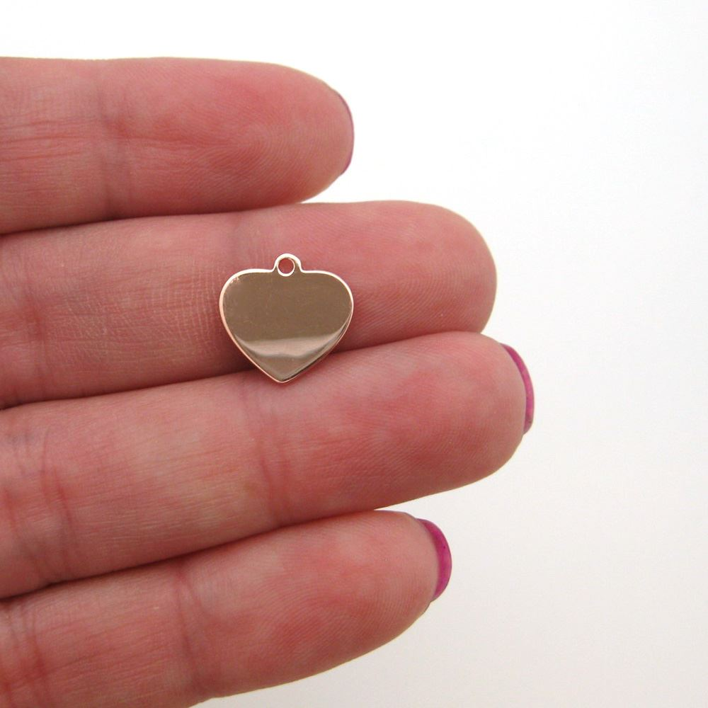 Rose Gold Plated Sterling Silver 12X12mm Heart Charm Tag