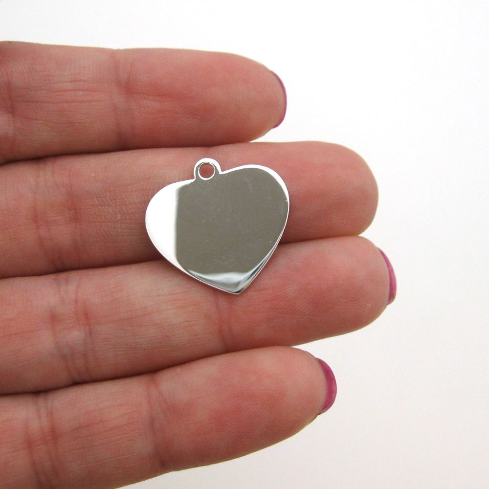 Sterling Silver 20X19mm Heart Charm Tag