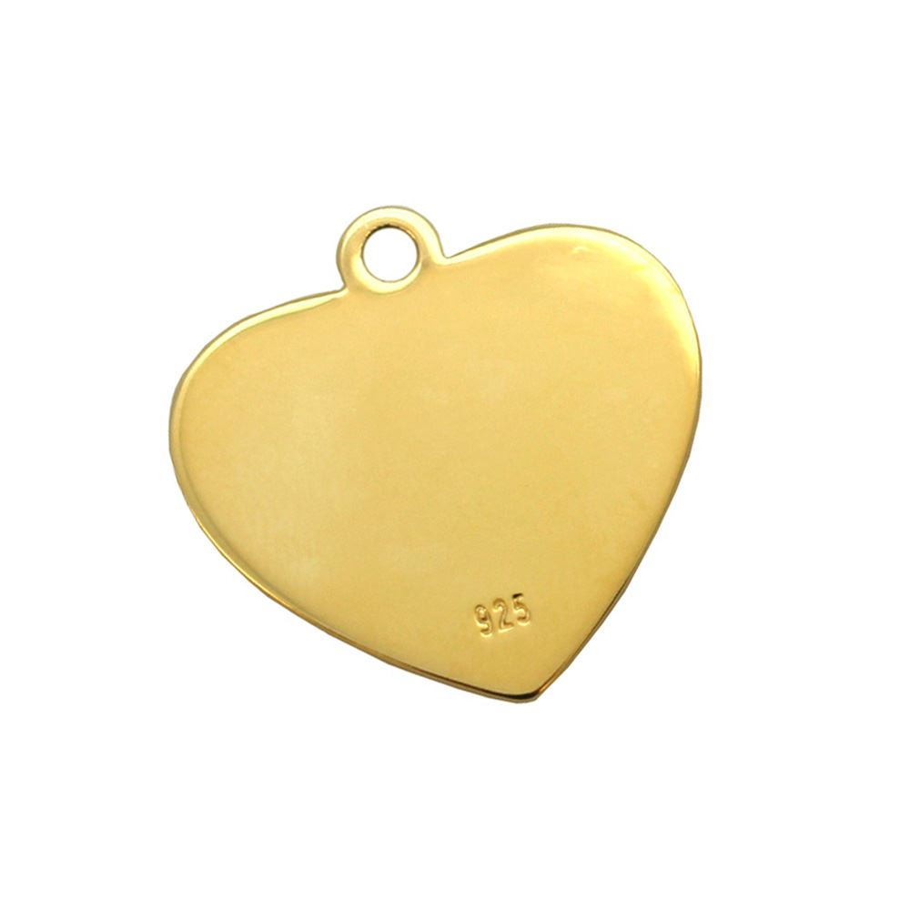 Gold Plated Sterling Silver 20X19mm Heart Charm Tag