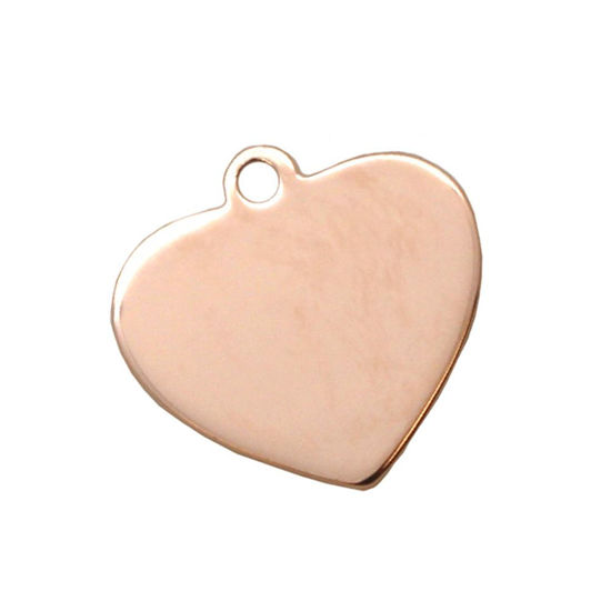 Rose Gold Plated Sterling Silver 20X19mm Heart Charm Tag