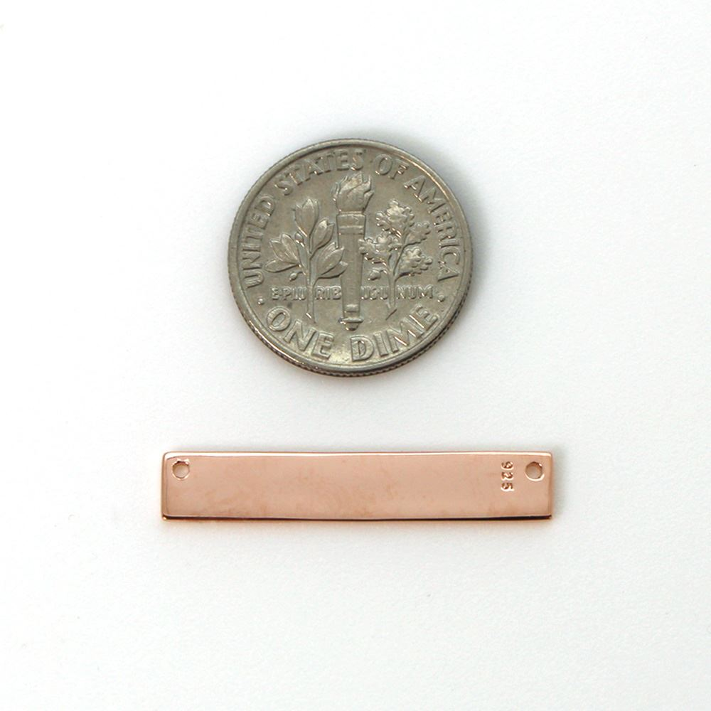 Rose Gold Plated Sterling Silver Rectangle Bar Pendant Connector, Personalized Stamping Blank Bar