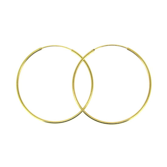 Gold Plated Sterling Silver Earrings- Strong Hoops- 50mm(sold per pair)