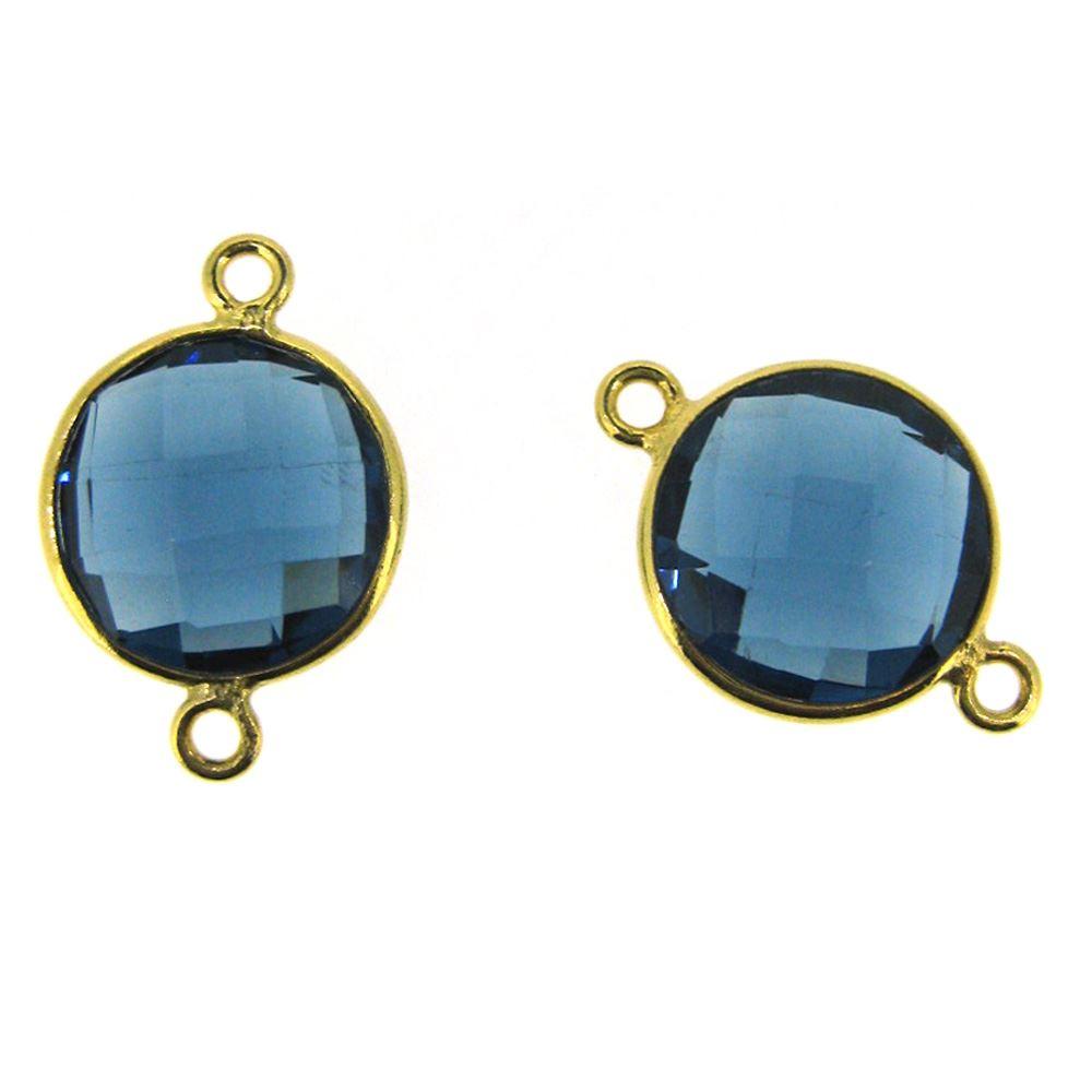 Bezel Gemstone Links - Vermeil - Faceted Coin Shape - Blue Iolite Quartz (Sold per 2 pieces)