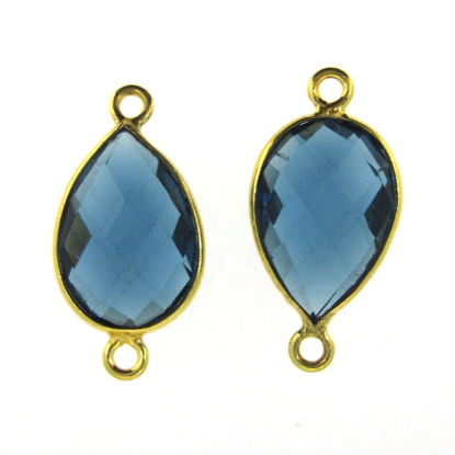 Bezel Gemstone Links - 10x14mm Faceted Pear - Blue Iolite Quartz  (Sold per 2 pieces)